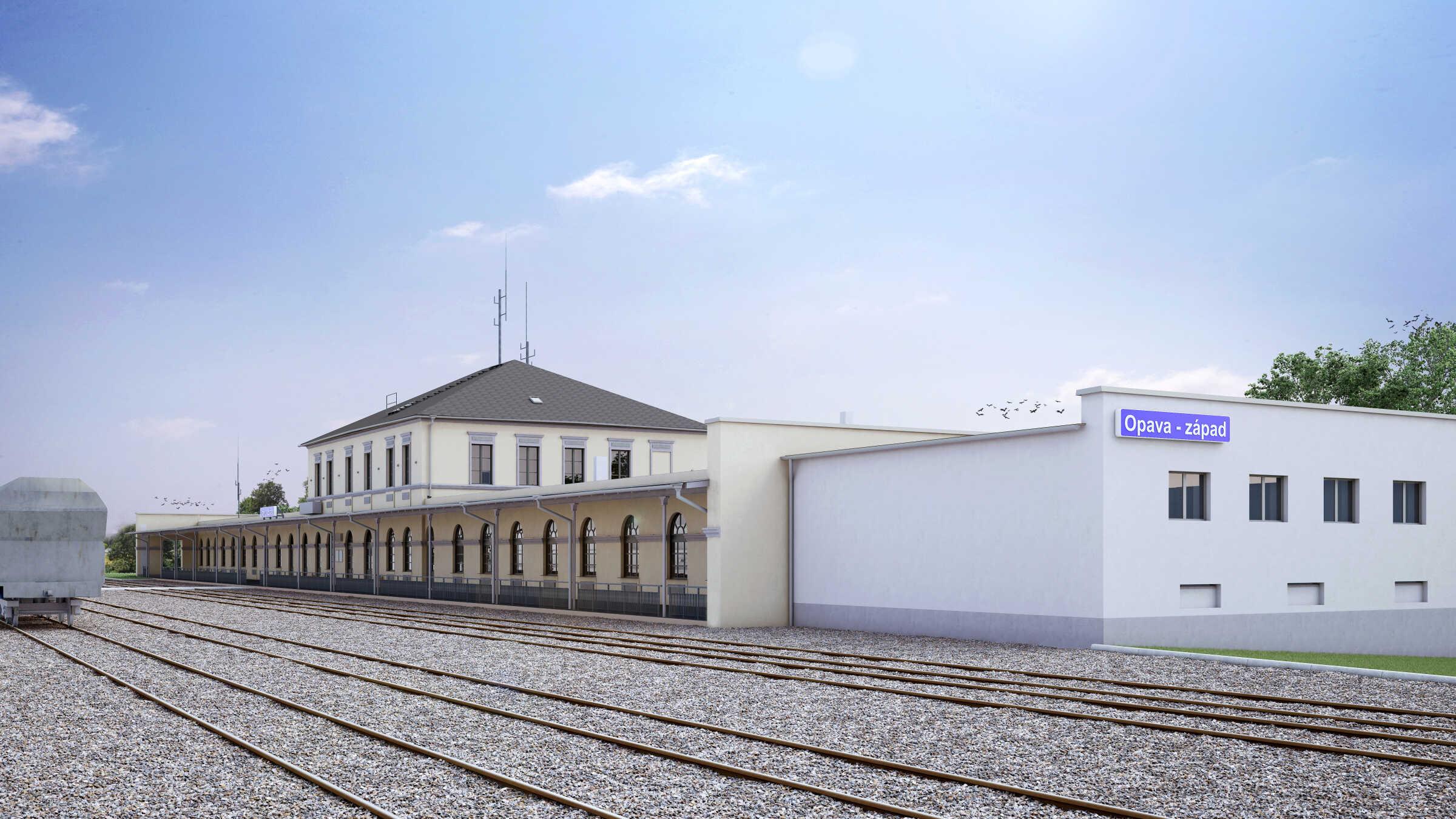 vizualizace nádraží Opava západ po rekonstrukci